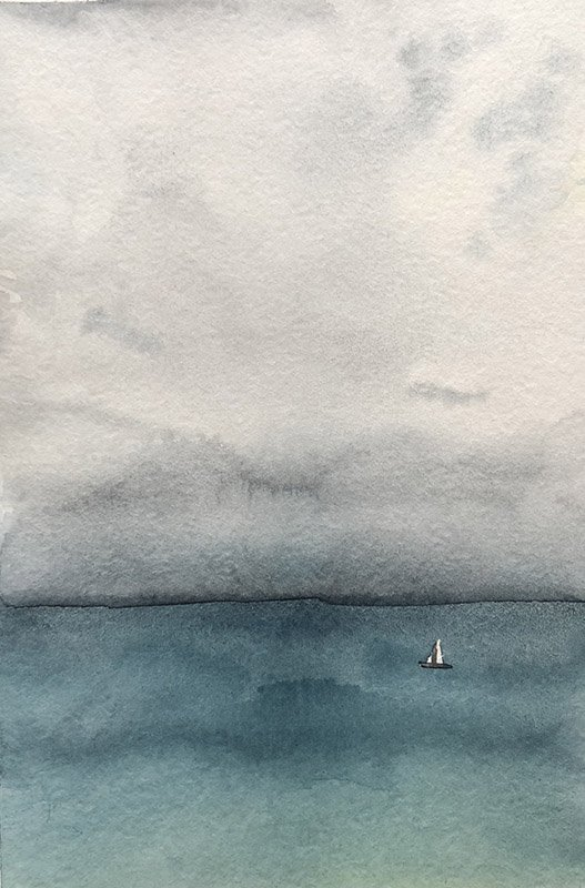 The lonely sail in the coming thunderstorm